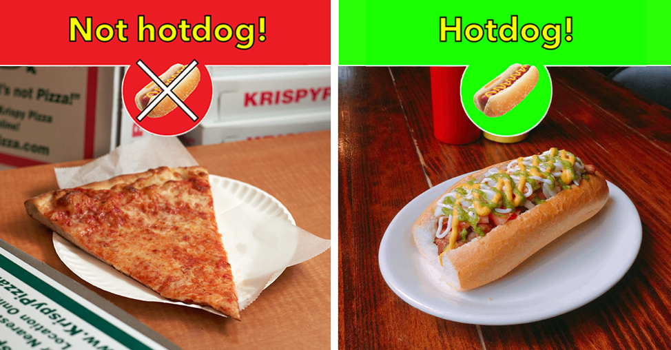 The picture describes a joke app designed by one of the characters in the Silicon Valley show that classifies food items from images. However, when revealed, the app was able to only classify hot dogs in images, but for all other food items, it would just classify them as not hotdog.